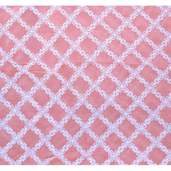 Viscose Light Pink & White Design Embroidery Fabric