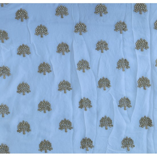 Pure Chinnon White & Golden Tree Pattern  Embroidery Fabric