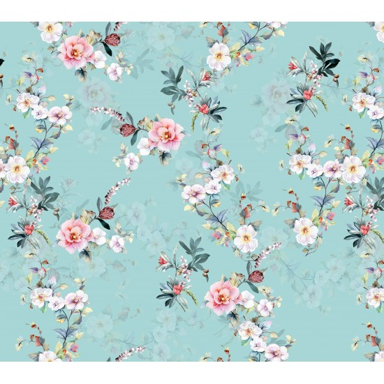 Turkish Green, Light Pink and White Floral Design & Digital Print Fabric