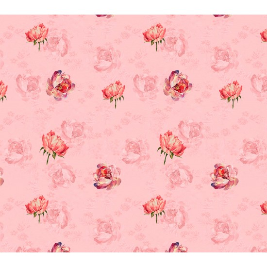 Pink and Red Rose Floral Pattern & Digital Print Fabric
