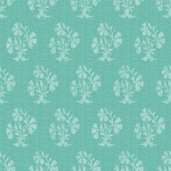 Turkish Blue and White Booti Dabu Digital Print Fabric