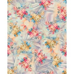 Amber and Cerise Pink Rose Floral Pattern & Digital Print Fabric