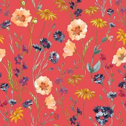 Indian Red and Multicolour Floral Design & Digital Print Fabric