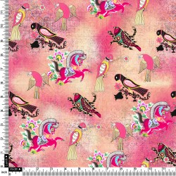 Light Pink, Cream and Multicolour Pigeon Bird Floral Design & Digital Print Fabric