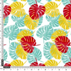 Peepal Tree Leaf Pattern Digital Print Fabric