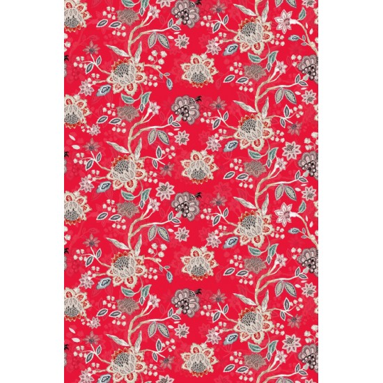 Red and Beigh Jacobean Floral Pattern & Digital Print Fabric