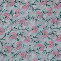 Pacific Pink Orange & Green Floral  Pattern  Embroidery Fabric