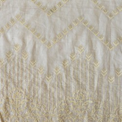 Paisley Floral Embroidery & Mul Cotton  Fabric