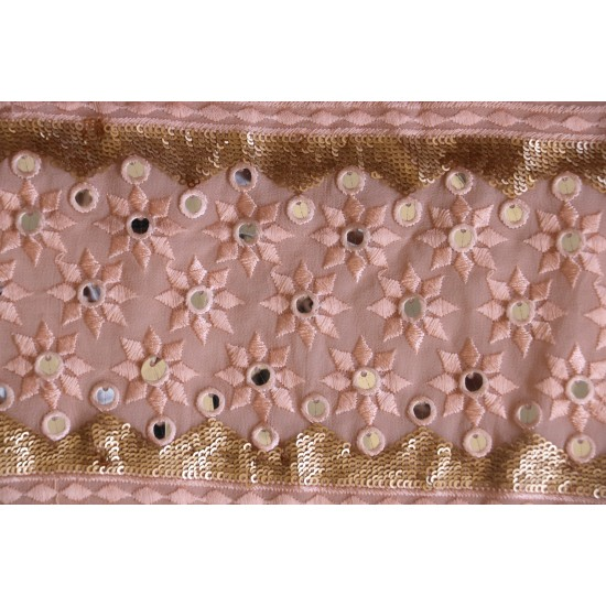 Dyed Lucknowi Sequence Embroidery with Mirror Work  & Viscose Georgette Fabric