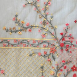 Floral Embroidery & Butter Net Fabric