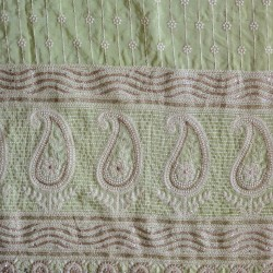 Dyed Lucknowi Embroidery & Muslin Silk Fabric