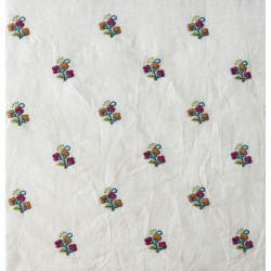 White, Orange and Pink Sprig Floral Embroidery & Cotton Fabric