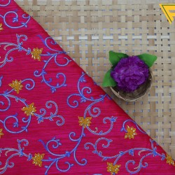 Pacific Pink Blue & Yellow Floral Design Embroidery  Fabric