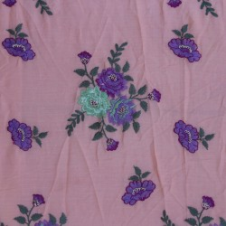 Mal Cotton Purple & Light  Green Floral Design  Embroidery Fabric