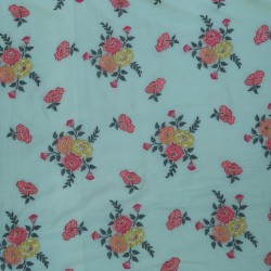 Mal Cotton Light Green Pink & Golden Floral Design Embroidery Fabric