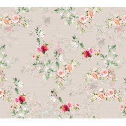 Beigh and Pink Floral Design & Digital Print Fabric