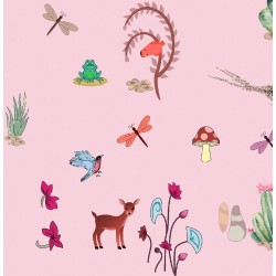 Light Pink and Multicolor Natural Nursery Pattern & Digital Print Fabric