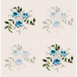Corian Bisque and Turquoise Floral Design & Digital Print Fabric