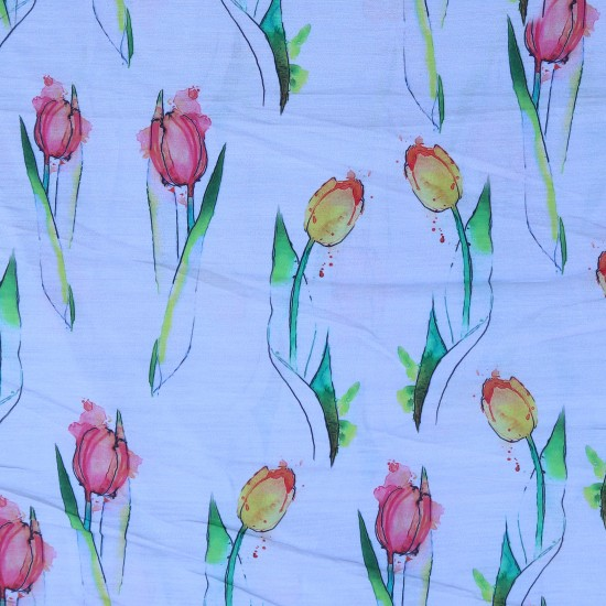 Pale Blue, Yellow and Pink Floral Design & Digital Print Fabric
